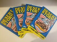 1991 Topps Desert Storm Trading Card Lot - 4 Sealed Wax Packs Unopened Cards