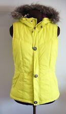 BURTON Women's SLY VEST Puffer Faux Fur Hooded Zip Front Yellow Size Medium