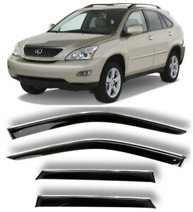 Chrome Trim Side Window Visors Guard Vent Deflectors For Lexus RX II 2003-2009