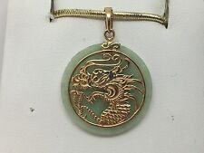 14K YELLOW GOLD GOLD JADE DRAGON PENDANT 3.6 GRAMS