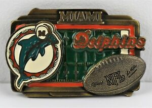 Miami Dolphins Classic Logo Belt Buckle NFL Licensed Football, Made USA, Vintage