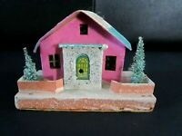 Antique Pre-war Christmas Putz House With Base, Bottle Brush Trees.