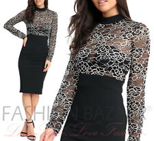 Black Bodycon Midi Dress Womens Floral Lace Hi Neck Long Sleeve Xmas Party Dress