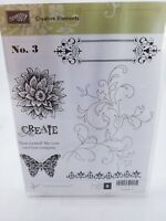 """Retired Stampin' Up """"Creative Elements"""" Stamp Set EUC Butterfly Flowers"""