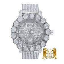 Roman Numeral Real Diamond White Gold Tone Pave Flower Bezel Custom Band Watch