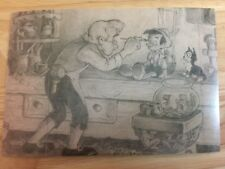 POSTCARD UNUSED DISNEY PINOCCHIO, 1940 WITH GEPPETTO, STORY SKETCH, GRAPHITE