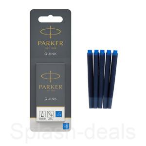 Parker Fountain Pen Refill Ink Cartridges Genuine Quink Replacement - Black Blue