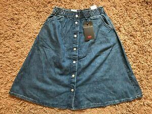 Levi's Premium Ladies Womens Front Button Denim Skirt (Blue) W27 - BNWT