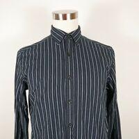 Claiborne Mens Long Sleeve Button Down Navy Blue Striped Dress Shirt Medium