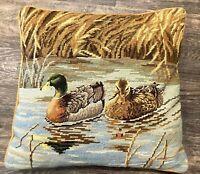 Vtg Ducks Needlepoint Embroidery Pillow Velvet Golden Back Rustic Cabin Man Cave