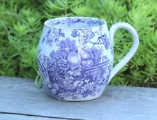 18th CENTURY ENGLISH  BLUE & WHITE TRANSER  POTTERY MUG in ASTOUNDING CONDITION