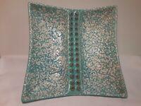 VINTAGE MCM Stanford-Sebring Ohio Turquoise ART POTTERY ASH TRAY #726-E