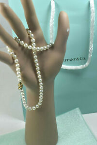 """Tiffany &Co 18K Yellow Gold Akoya Cultured Pearl Signature X 18"""" Necklace w/Case"""