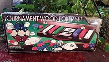 2004 Cardinal Tournament Wood Poker Set #1429 New 300 Poker Chips