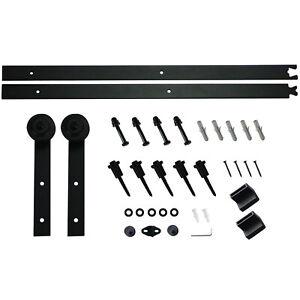 5Ft Heavy Duty Sliding Door Hardware Kit Barn Door Track Kits for Closet Black