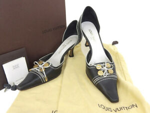 LOUIS VUITTON Ladies Monogram Flower Button Side Open Pumps Black Size 37 1/...
