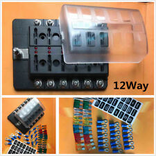12 Way Fuse Box Car Truck Standard ATO ATC Blade Fuse Block Holder LED Indicator