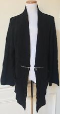 NWT Sutton Studio Bloomingdale's Black Cashmere Ribbed Cardigan Sweater M $168