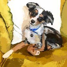 Mini Acrylic Original Puppy Painting 4x4 Dog Pup Artwork Australian Shepherd