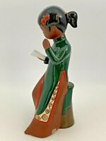 GOM VIET Fine Art Pottery Figurine Vietnamese Young Lady Reading 8.5""