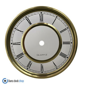New Round 150mm Metal Clock Dial Face Black Roman Numerals Gold & White Face