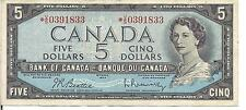 CANADA, $5 ,QEII, REPLACEMENT NOTE *V/S , 1954