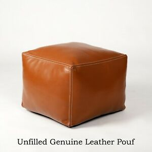 Tan leather handmade square unfilled Moroccan Pouf Cover
