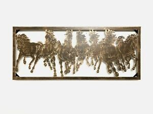 "7 RUNNING WILD HORSES METAL WALL ART HOME DECOR BRONZE BRUSHED COPPER Frame 33"""