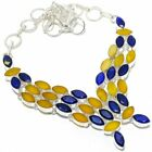 """Yellow Sapphire, Blue sapphire Silver Jewelry Necklace 18"""" MQR-2819"""