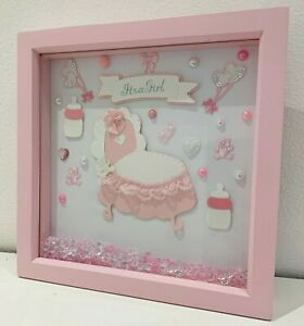gorgeous framed gift for a new baby Girl. pink. its a girl,