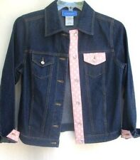 PERFECT..CARSON KRESSLEY..DENIM..JACKET..PINK POLKA DOT TRIM..NWOT..sz XS /S
