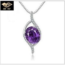 Sterling Silver Necklace Chain Amethyst Cubic Zirconia Heart Purple Pendant K33