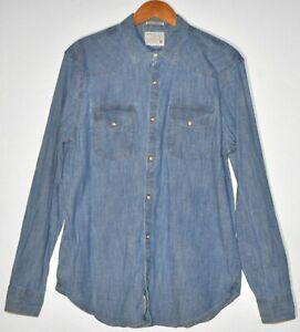 Lucky Brand Men's Size M Classic Fit Blue Denim Button Down Dress Shirt Western