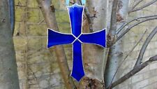 Stained Glass Suncatcher Blue Cross (Handmade) Easter Poison Tiffany Style
