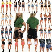 Women's Girl Sexy High Waist Denim Shorts Ripped Tassel Jeans Mini Shorts Pants