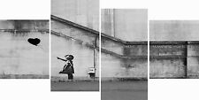 XX Large 4 Panel Set Banksy Black Balloon Hope Canvas Pictures Wall Art Prints