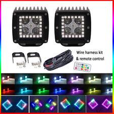 "Set(2pcs) 40W 3"" CREE LED Work Light Cube Pods & RGB HALO Chasing Color Change"