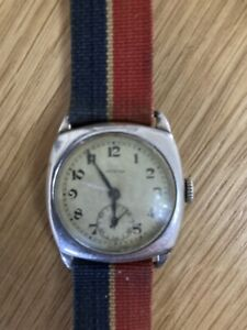 Mens Sterling Silver Trench Watch Working, Swiss Made