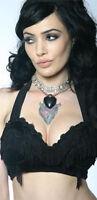 *Lip Service Black Tease O Rama Fringed Bra Top Burlesque Goth Gothic Lolita L