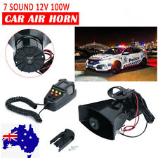 100W 12V 7 Sound Loud Car Alarm Police Fire Horn Siren PA Speaker MIC System