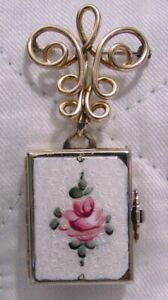 VINTAGE CORO ENAMEL 4 PICTURE FOLD OUT LOCKET BOOK ON GOLD FILLED WATCH PIN