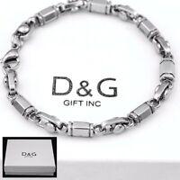"""DG 8.5"""" Men's Silver.Stainless Steel 6mm,Link Chain Bracelet Unisex + BOX"""