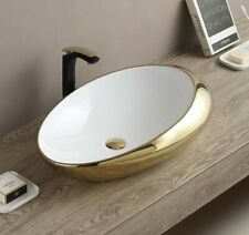 Ceramic Oval Egg Shape Wash Basin Bathroom Vessel Sink Countertop 47 x 30 x 12Cm