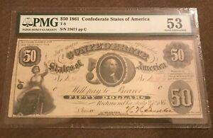 1861 geo Washington $50 confederate T8 choice AU ppq pmg 53