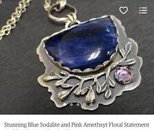 Sterling Silver Etsy Artist Necklace Sodalite And Amethyst Unique