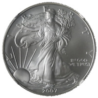 2007 Silver American Eagle $1 NGC MS70 Brown With Scales Rt. Label STOCK