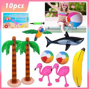 10pcs Hawaiian Party Toys Set Inflatable Beach Pool Supplies Decor Flamingo Tree