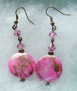 BRIGHT PINK BRONZE DRIZZLED MOTHER OF PEARL EARRINGS