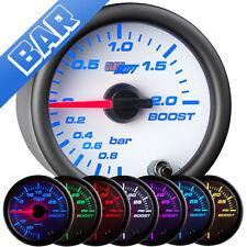 52mm GlowShift White 7 Turbo 2.0 BAR Boost Vacuum Gauge w. 7 Color LED Display