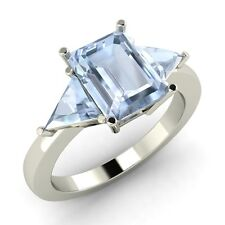 Certified 2.33 Cts Emerald Aquamarine 14k White Gold Three Stone Engagement Ring